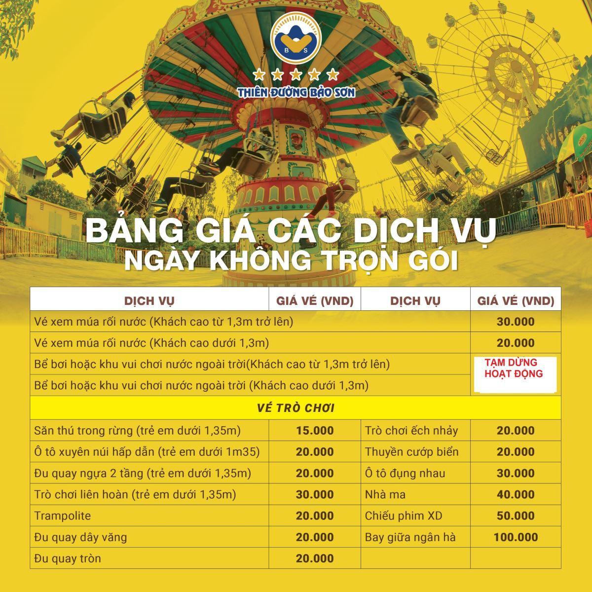Giá vé trò chơi lẻ áp dụng các ngày thường từ thứ 2 - thứ 7. Vào các ngày  chủ nhật, tất cả trò chơi trên được miễn phí không giới hạn số lần.